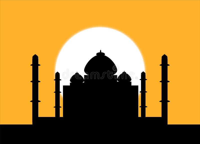 Taj Mahal bij zonsondergang vector illustratie