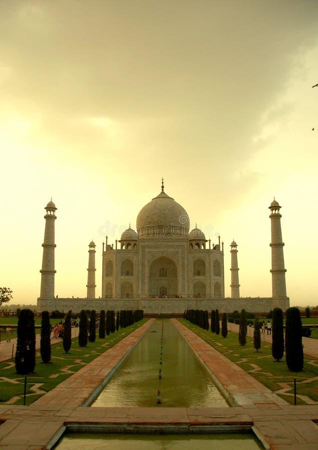 Taj Mahal bij Zonsondergang stock foto