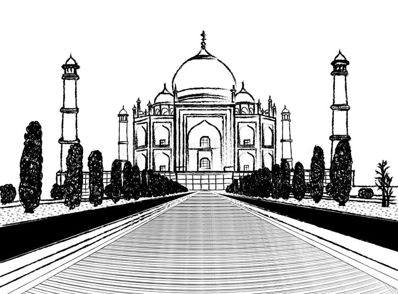 Taj mahal temple charcoal sketch on white background royalty free illustration