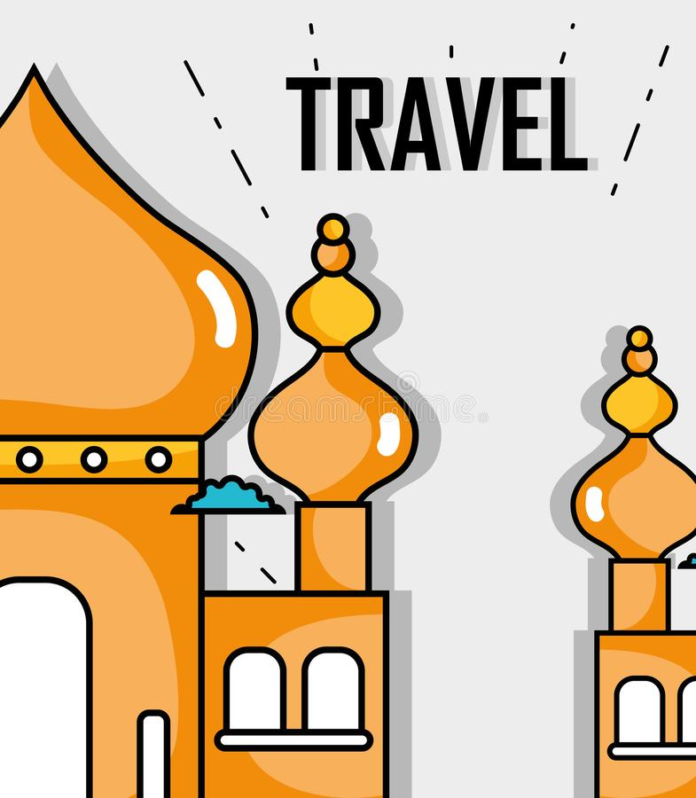 Taj mahal with cloud travel to visit. Vector illustration stock illustration