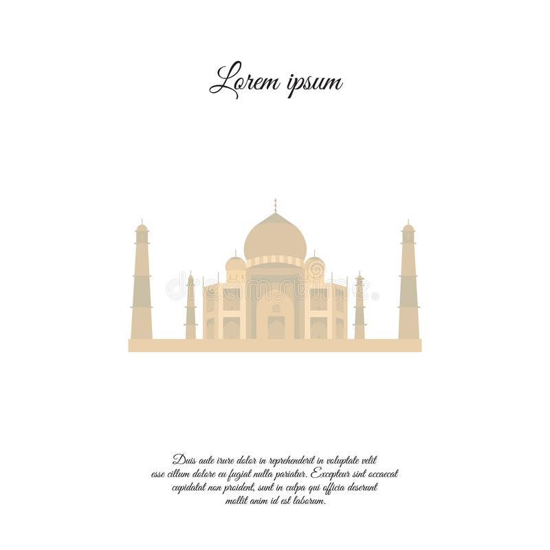 Taj Mahal color  icon, sign stock illustration