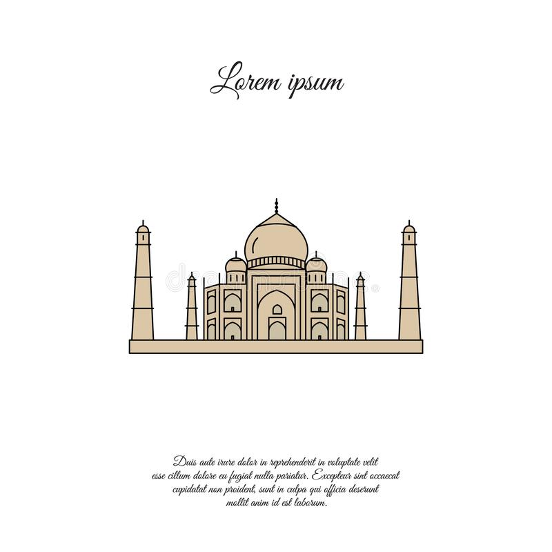 Taj Mahal color vector icon, sign stock illustration