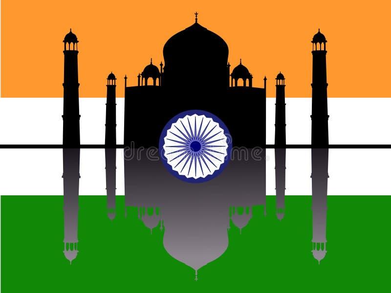 Taj Mahal com bandeira ilustração stock