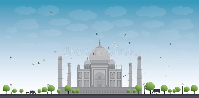 Taj Mahal con l'albero e la mucca royalty illustrazione gratis