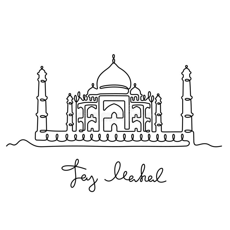 Taj Mahal continuous line vector illustration. Taj Mahal, India. Artistic one line vector design. Graphic, black on white architectural sketch stock illustration