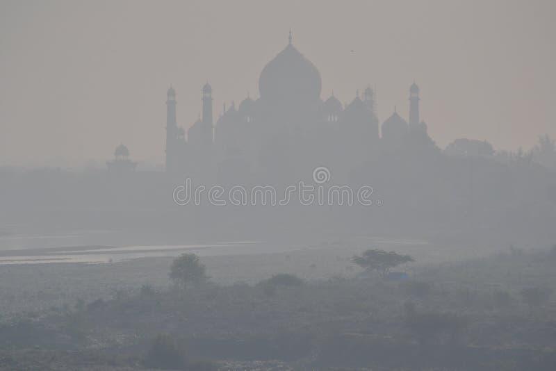 Taj Mahal in de mist stock fotografie