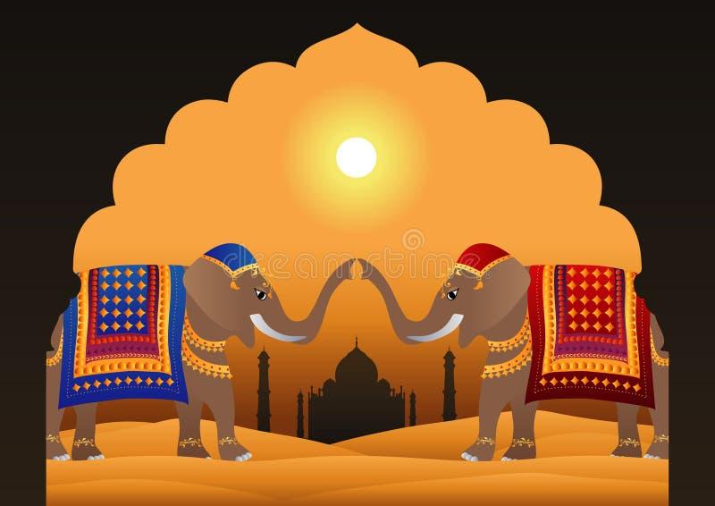 Taj Mahal and Decorated Indian Elephants stock illustration
