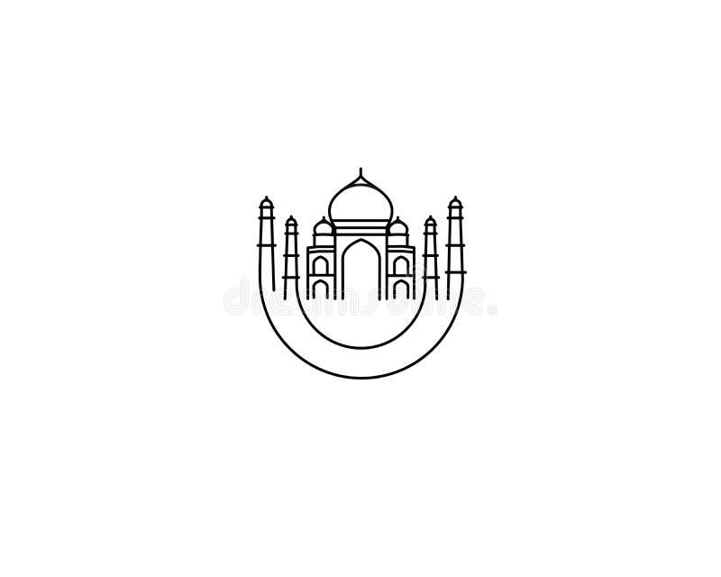Taj Mahal Drawn, Índia Agra ilustração stock