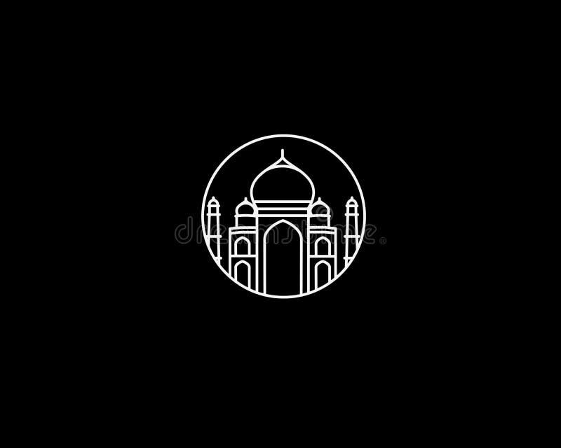 Taj Mahal Drawn, Índia Agra ilustração do vetor