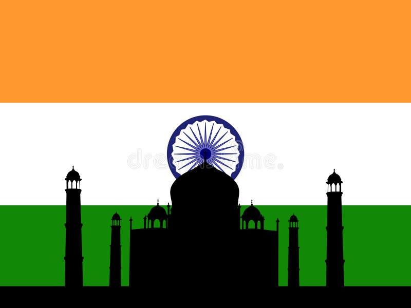 Taj Mahal e bandeira indiana ilustração royalty free