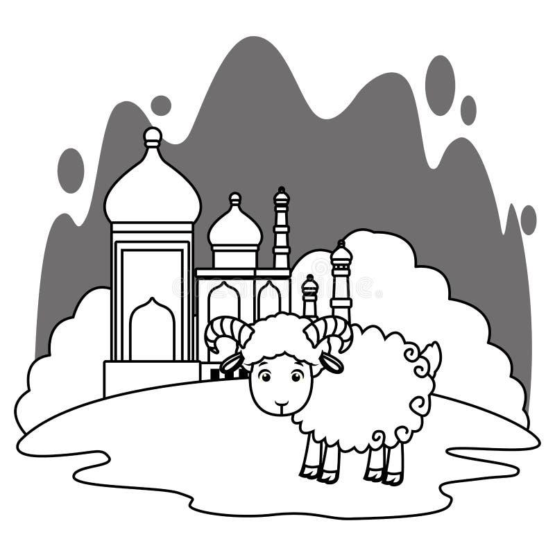 Taj mahal e cenário dos desenhos animados da cabra em preto e branco ilustração royalty free