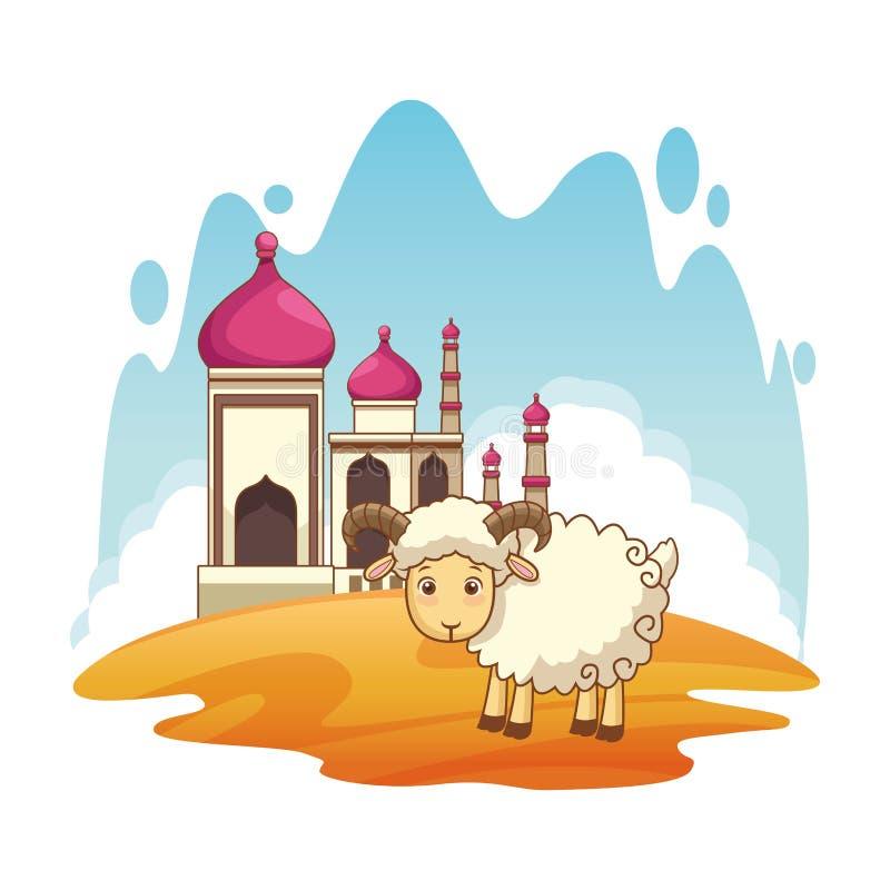 Taj mahal e cenário dos desenhos animados da cabra ilustração royalty free