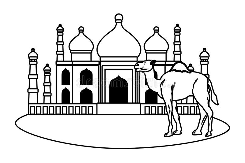 Taj mahal e cenário dos desenhos animados do camelo em preto e branco ilustração stock
