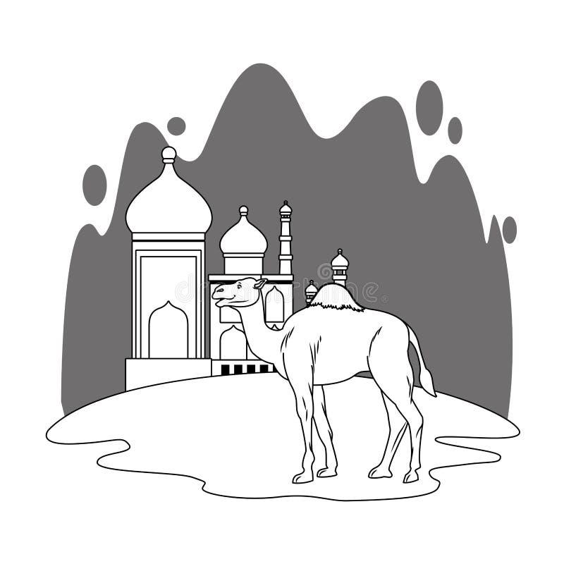 Taj mahal e cenário dos desenhos animados do camelo em preto e branco ilustração royalty free