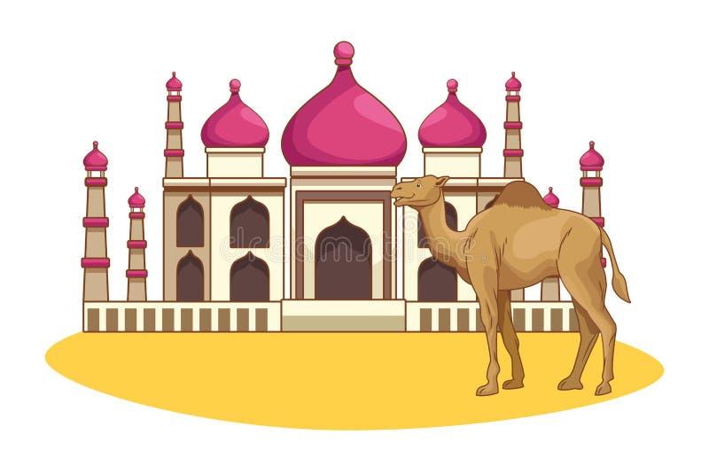 Taj mahal e cenário dos desenhos animados do camelo ilustração stock