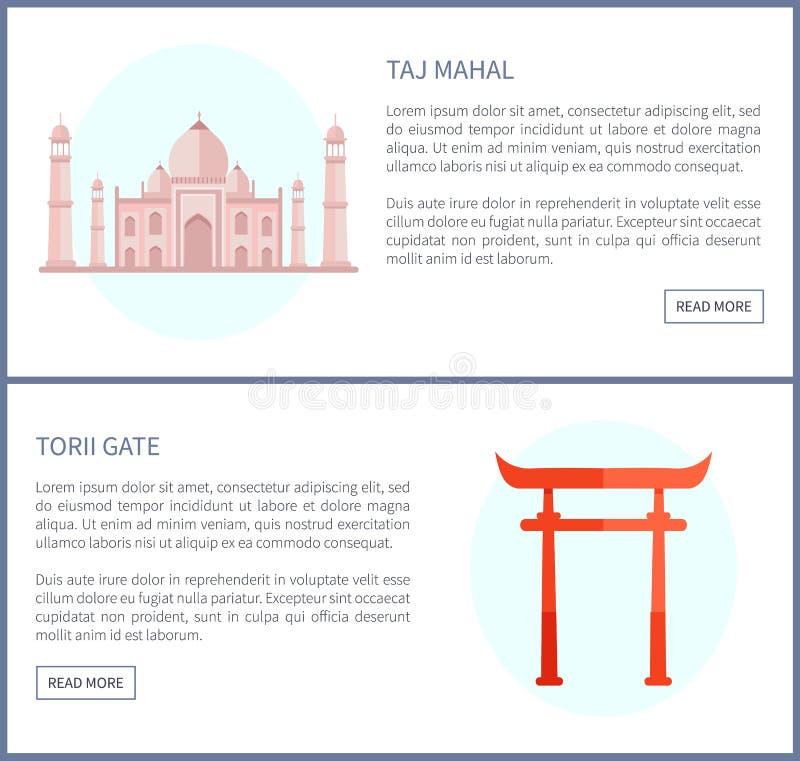 Taj Mahal e porta de Torii, ilustração do vetor ilustração stock
