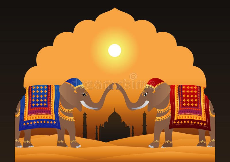 Taj Mahal ed elefanti indiani decorati illustrazione di stock