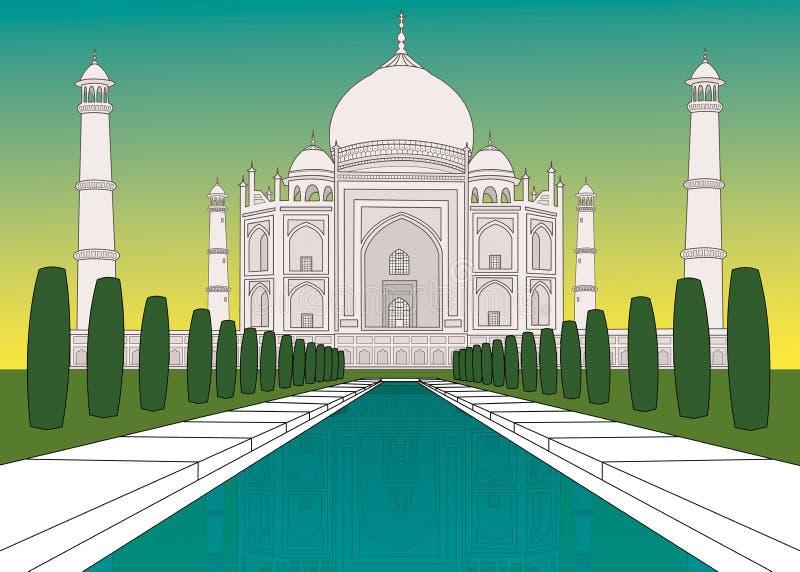 Taj Mahal en colores stock de ilustración