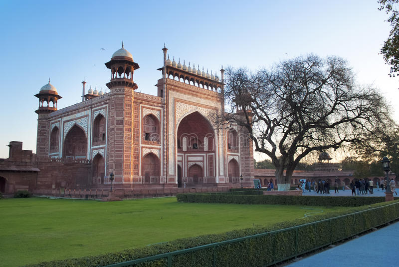 Taj Mahal Entrance, Indien stockbild