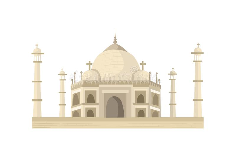 Taj Mahal illustration. Taj Mahal in flat style isolated on white background vector illustration
