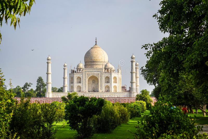 Taj Mahal full view during day time in Agra India, The Taj among 7 Wonders of the World view royalty free stock photography