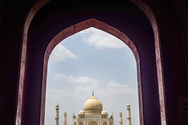 Taj Mahal full view during day time in Agra India, The Taj among 7 Wonders of the World view stock photos