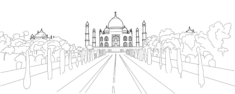 Taj Mahal Hand Drawn Artwork vector illustratie