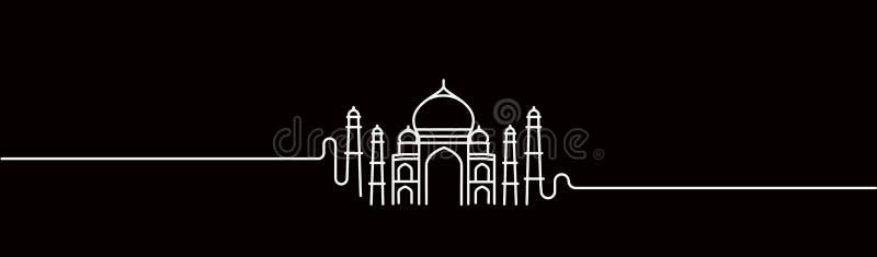 Taj Mahal Hand Drawn, India Agra. Line art vector illustration royalty free illustration