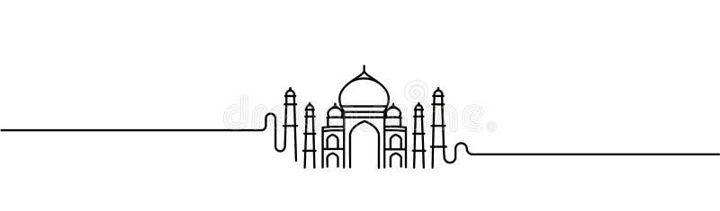 Taj Mahal Hand Drawn, India Agra. Line art vector illustration stock illustration