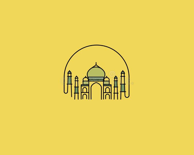 Taj Mahal Hand Drawn, India Agra. Line art vector illustration vector illustration