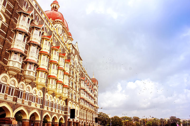 Taj Mahal Hotel, Mumbai. Sideways view of the Taj Mahal Hotel, Mumbai. One of Mumbai's iconic buildings and a 5-star luxury hotel royalty free stock image