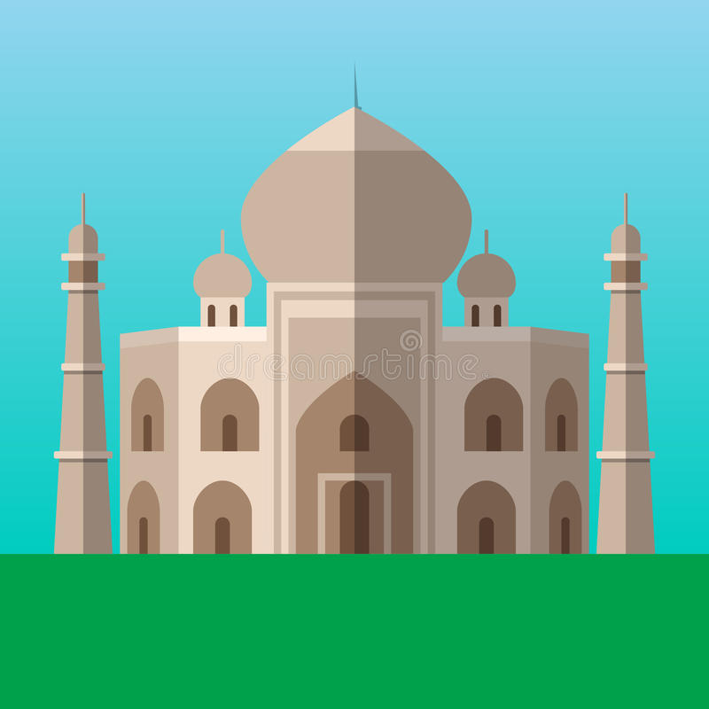 Taj Mahal i Agra, Indien vektorillustration Plan stilsymbol royaltyfri illustrationer