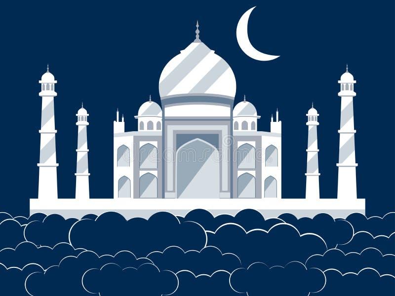 Taj Mahal i molnen Forntida slott och gränsmärke av Indien royaltyfri illustrationer