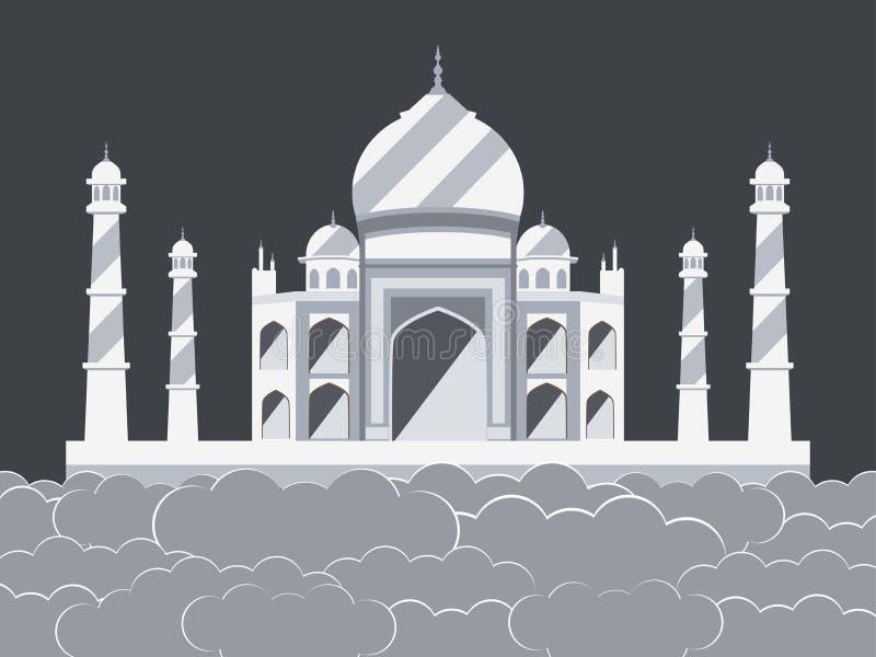 Taj Mahal i molnen Forntida slott och gränsmärke av Indien vektor illustrationer