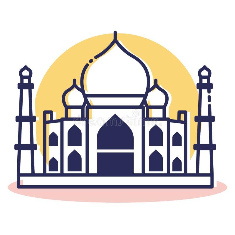 Taj Mahal Icon - curso e destino ilustração do vetor