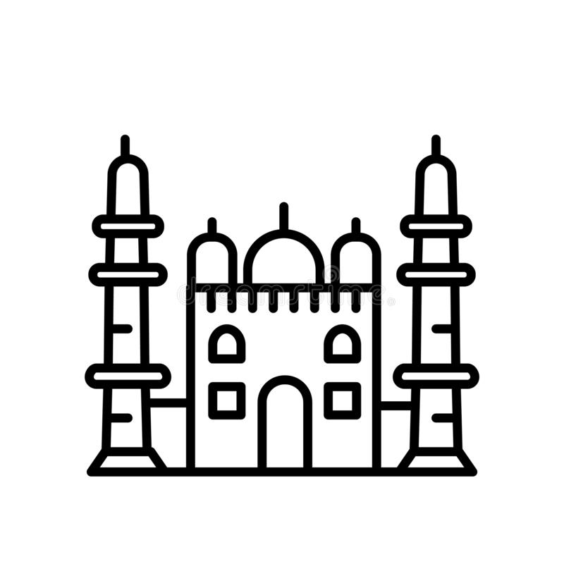Taj Mahal icon vector isolated on white background, Taj Mahal sign , line or linear sign, element design in outline style vector illustration
