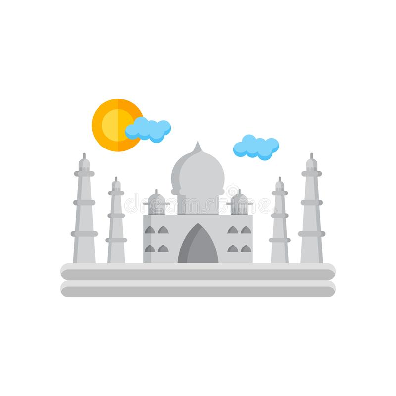 Taj mahal icon vector sign and symbol isolated on white background stock illustration
