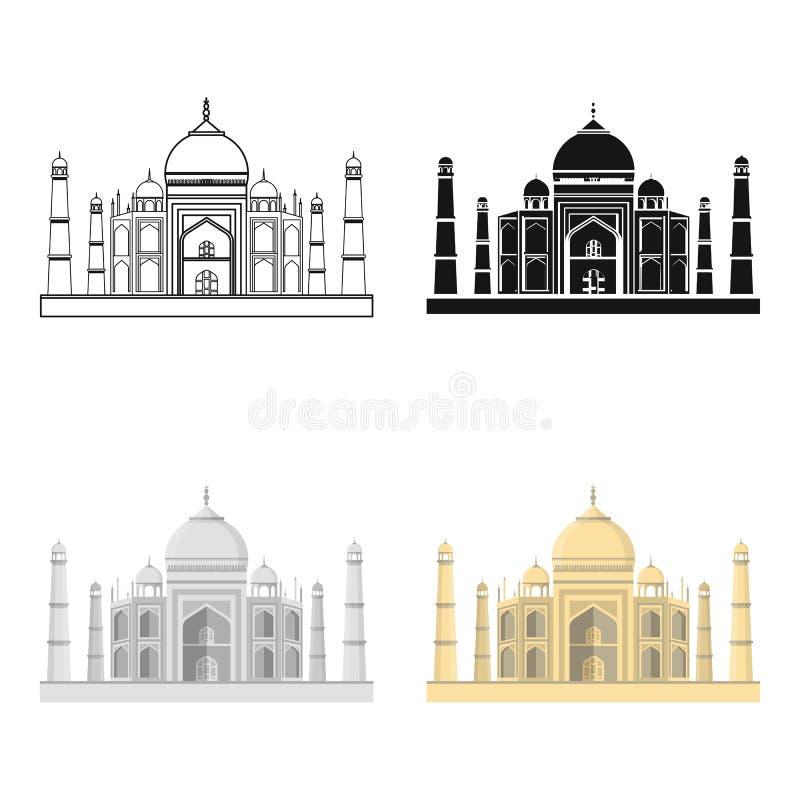 Taj Mahal ikona w kreskówka stylu odizolowywającym na białym tle India symbolu zapasu wektoru ilustracja ilustracja wektor
