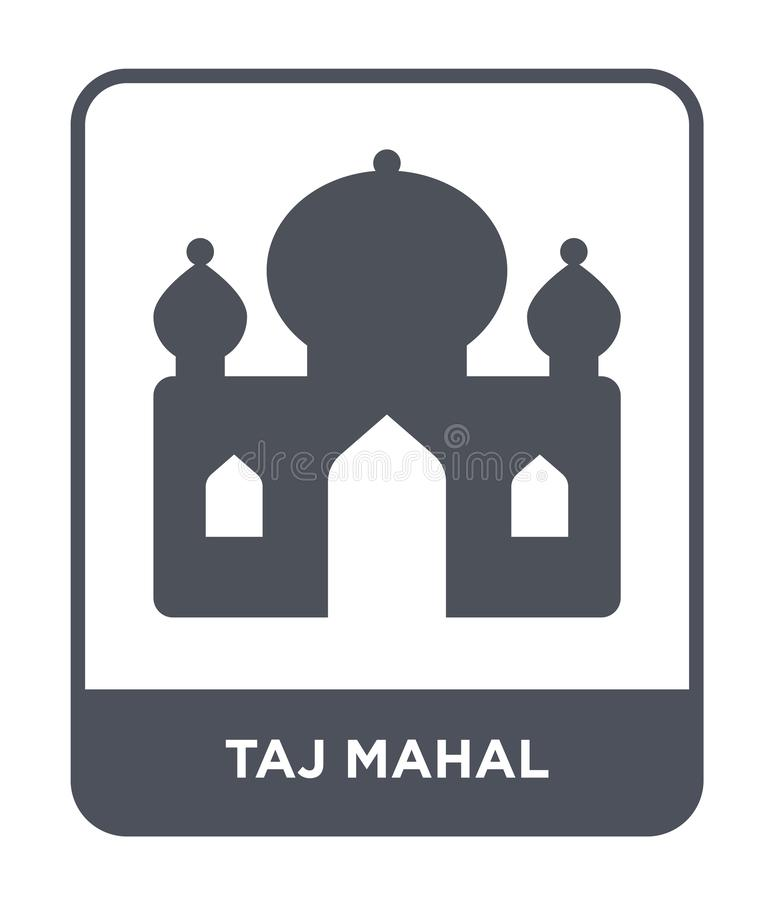 Taj Mahal Ikone in der modischen Entwurfsart Taj Mahal-Ikone lokalisiert auf weißem Hintergrund einfache und moderne Ebene der Ta lizenzfreie abbildung