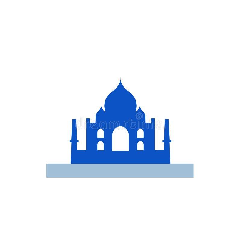 Taj Mahal Ikonenvektorzeichen und -symbol lokalisiert auf weißem Hintergrund vektor abbildung