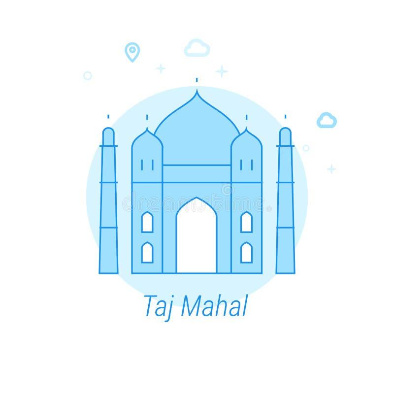 Taj Mahal, ilustração lisa do vetor da Índia, ícone Claro - projeto monocromático azul Curso editável ilustração stock