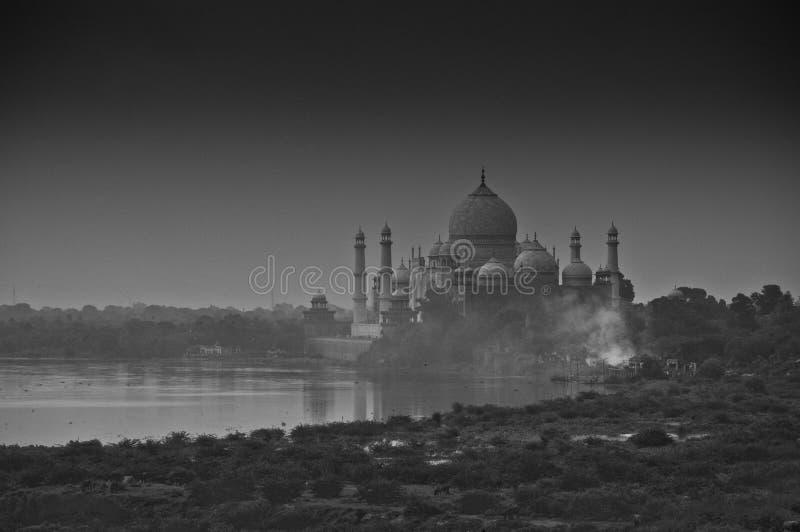 Taj Mahal, India. The Taj Mahal and Yamuna river, viewed from the Red Fort in Agra, Uttar Pradesh, India stock photos