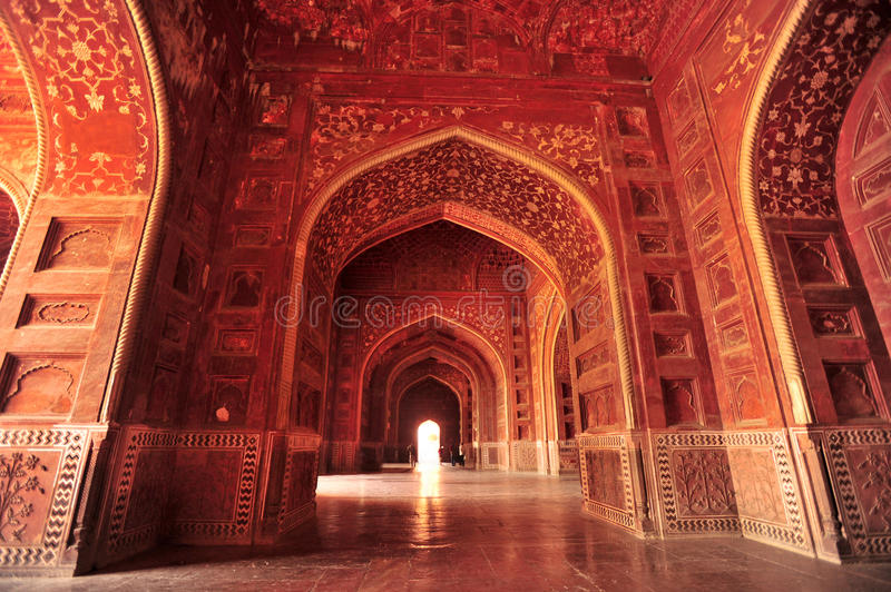 Taj Mahal India. Inside of the Taj Mahal mosque,red stone with exquisite carving