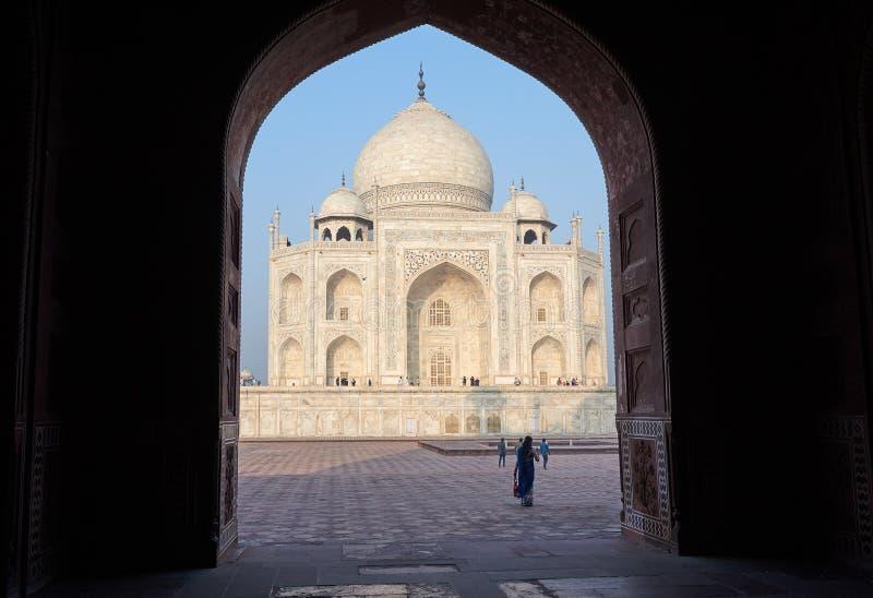 Taj Mahal India, Agra 7 meraviglie del mondo Bello trave del Taj Mahal immagine stock libera da diritti