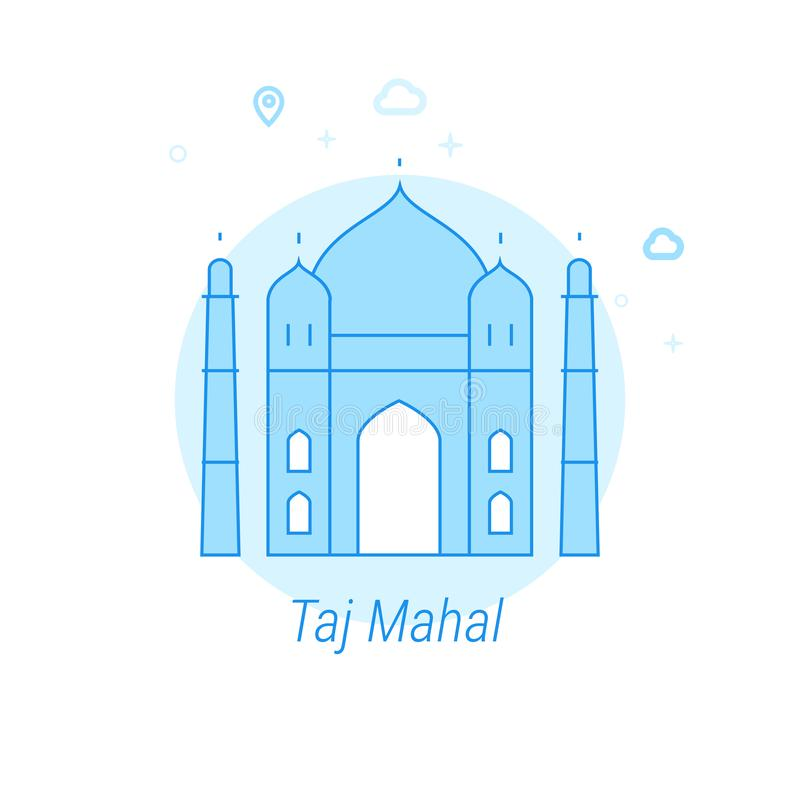 Taj Mahal, India Flat Vector Illustration, Icon. Light Blue Monochrome Design. Editable Stroke. Taj Mahal, India Flat Vector Icon. Historical Landmarks Related stock illustration