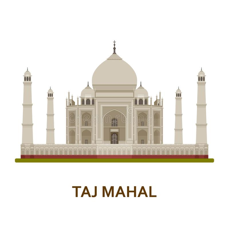 Taj Mahal, India Indisch beroemdste gezicht De architecturale bouw Beroemde toeristische attracties royalty-vrije illustratie