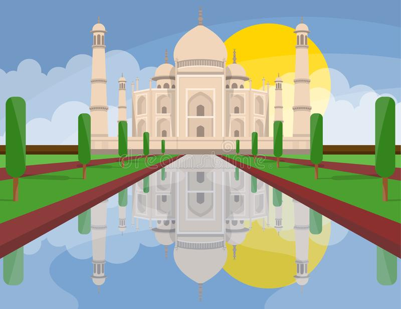 Taj mahal India vector design illustration. Concept art. Beautiful lanscape vector design illustration of Taj Mahal India royalty free illustration