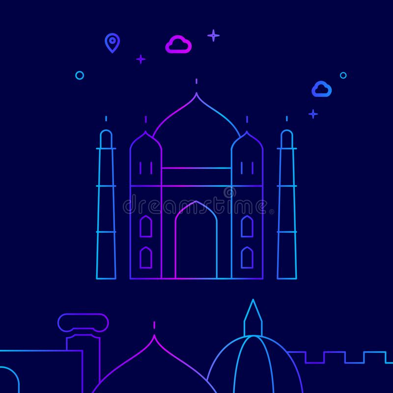 Taj Mahal, India Vector Line Icon, Illustration on a Dark Blue Background. Related Bottom Border stock illustration