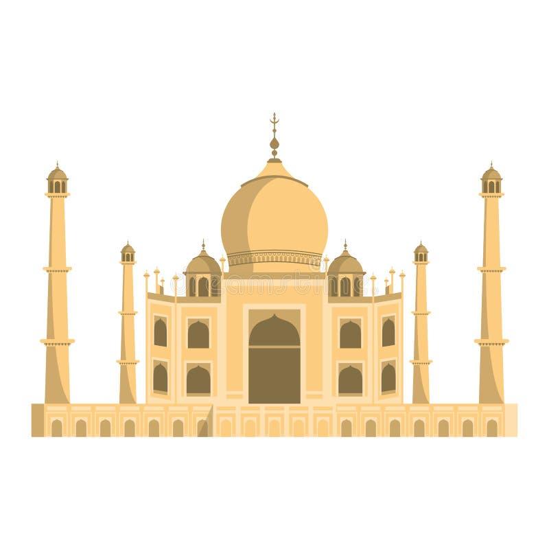 Taj mahal indian building symbol isolated stock illustration