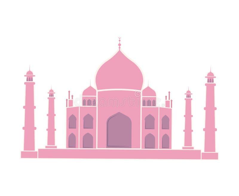 Taj Mahal Indian Landmark Travel-Geïsoleerde Sticker vector illustratie